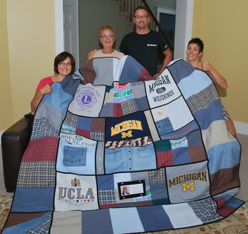 Finished t-shirt sweathirt combo quilt